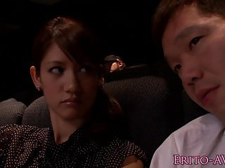 Upskirts in cinema Japanese model gf blowing cock in cinema