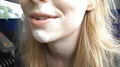 In Public With Cum On My Face! Public handjob!