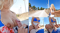 hot sex and huge cum on tits on a windy mountain top