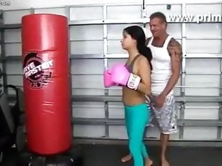 How to chip a virgin box - Boxing trainer training her with how to box with suck and fu