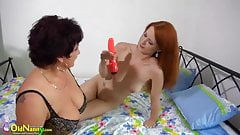 OldNanny Two blonge lesbians licking breast