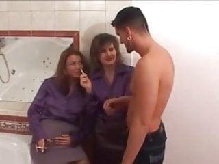 Lingerie purple - Purple satin blouse threesome