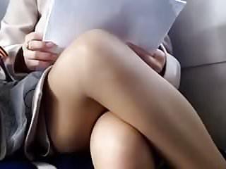Mens bikini briefs or regular briefs Upskirt on train legs but brief pantie flash