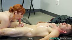 Threeway action with Lauren Phillips and a young masseuse