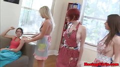 Sorority les teens toy pussy and scissorfuck