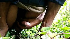 Big cock masturbation in outdoors