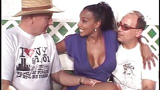 Hot married black beauty gets her amazing tits sucked by two white studs