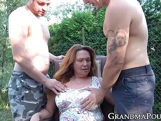 Fat lady sucks big cock Mature lady sucks young cock while fingered outdoors