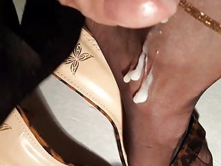 Nylon and heels fetish tubes Feet in nylons and heels soaked in cum and piss