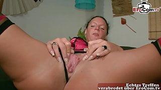 Regular German housewife masturbates at casting, POV