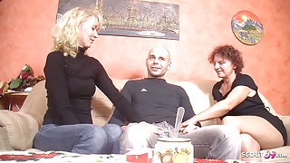 German Mature Seduce Stranger Guy to Fuck First Threesome