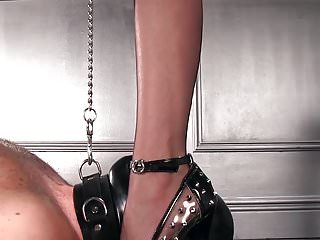 Adult humor spiked Femdomlady spiked high heels male slave licking
