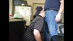 Daddy trucker dumps a quick load in Chubby Boy's mouth...
