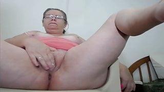 Old woman masturbating and squirting