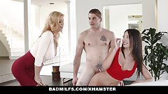 BadMilfs - Busty Professor Tricks Student Into threeway