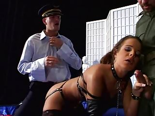 Brunete busty - Hot brunet in harness outfit fucking with two officers 2.avi