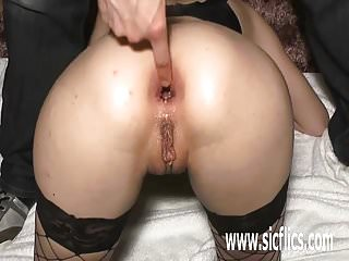 Huge bottle sex tube Brutally fisting and fucking her ass with a huge bottle