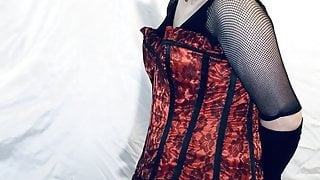 Tranny Slut Stroking in Lingerie and heavy makeup!