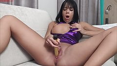 Roxys Squat Dildo Fuck With Hard Squirting!