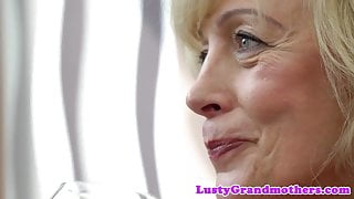 Pussyfucked busty granny rides big cock