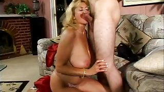 Big titted step mom has a young lover
