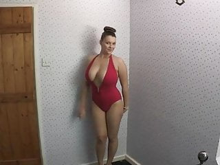 Bathing suit boobs - Showing off her new bathing suit