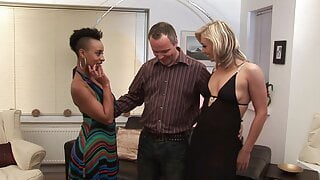 Black girl and blonde MILF give pleasure to this horny dude