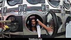 Bubble Butt Ebony Babe Jenna Foxx Fucks at the Laundromat