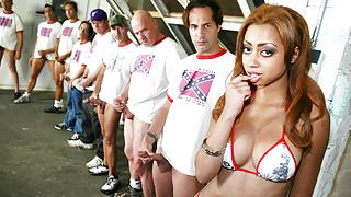 Horny White Guys Gangbang Ebony Angel Cummings