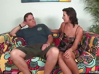 Cum splatter squirt - Naughty brunette gets a cum splatter