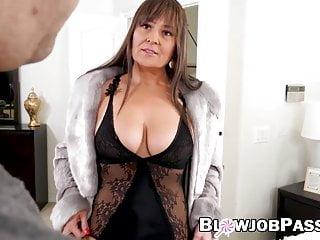 Busty jizz pov - Busty milf in sexy lingerie sucks dick and gets jizzed on