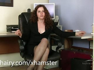 Bottom line of a business Fiona getting horny after a business call and masturbates