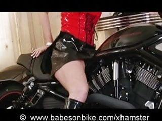 Sexy babe on bike Fetish babe on bike