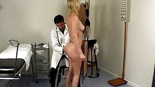 Spanking the tits and the vagina of the young naked lady.