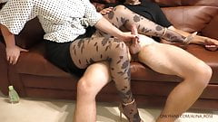 Young Secretary Gives Handjob on her Legs in Pantyhose - Cum on Legs