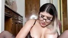 Girl with tats and glasses fucks dildo