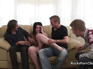 Triple penetration wife Cavegirl blows 3 cocks before triple penetration