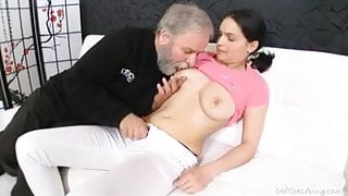 Diana moans as this grey haired dudes licks her young hairy