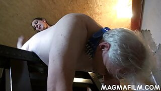 Mistress cutie fucks an old guy's ass with a toy