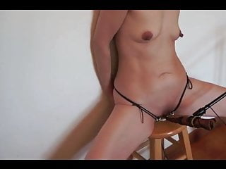 Oily anus soft heavy stool - Submissive wife cattle prod on stool