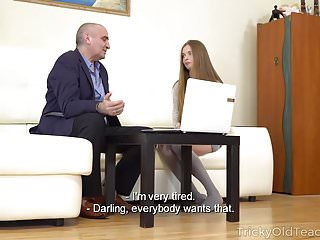 Video of sexy babe - Tricky old teacher - sexy babe gives her old teacher