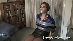Girl Duct Tape Gagged Bound and Chair Tied Bondage