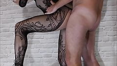 Sexy girl in stockings gave cum in her pussy