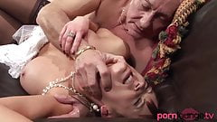 Brunette sucks and bangs old guy