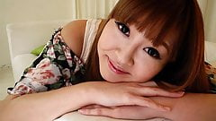 Stockinged Japanese teen with perky tits enjoys the rough th