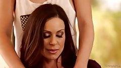 Lesbian women licking   under  table