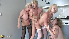 Hot group sex with old moms and young boy
