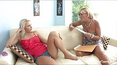 Hot MILF licks her blonde stepdaughter's pussy