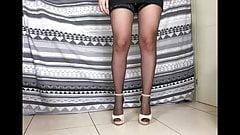 Giada's Heels and black nylon stockings