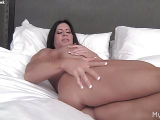 Beautiful nude muscular women - Nude female bodybuilder plays with her big clit pussy lips